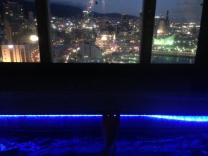 Foot soaking bath on the top floor of the Onsen. The water was super hot, but the actually room itself was roofless and cold!