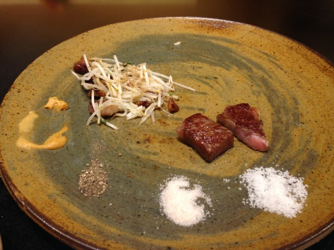 Kobe beef with sprouts cooked with our kobe beef fat pieces!
