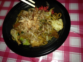 Yakisoba with pork belly, in our bellies