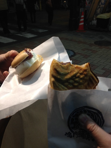 Right: Tai Yaki, fish with red bean, next to a wafer with ice cream and red bean
