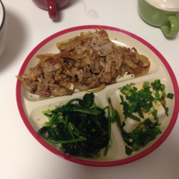 Home Meal: Pork stir fry, garlic and spinach, tofu