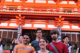 The crew, in front of the Yasaka Shrine
