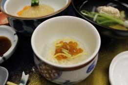 Ikura, egg, over rice
