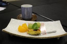 egg custard and assorted fruit