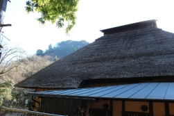 Outside the teahouse with the straw roof.