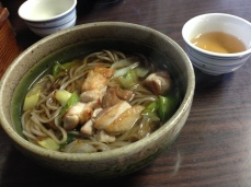 Chicken and leek soba in town