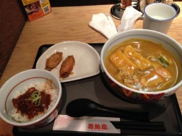 Last meal in Nagoya, kishimen (local noodle) and chicken wings!