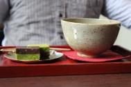 Photo by JT Tan. Matcha and matcha/chocolate square
