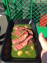 Beef in pesto sauce