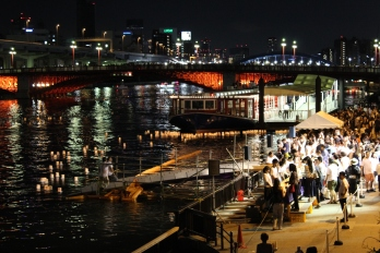 Floating wishes for Obon on the Sumida River