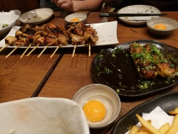 Tsukune with raw egg!